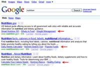 Google cung cấp sitelinks một dòng
